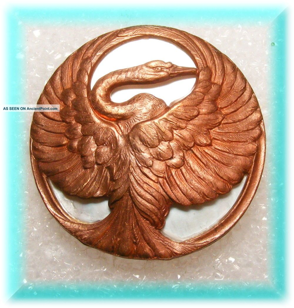 Brass Casting Of Herron Bird W Stretched Wings On Mother Of Pearl Studio Button Buttons photo
