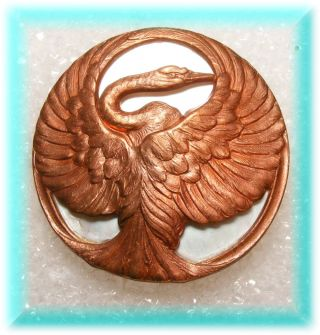 Brass Casting Of Herron Bird W Stretched Wings On Mother Of Pearl Studio Button photo