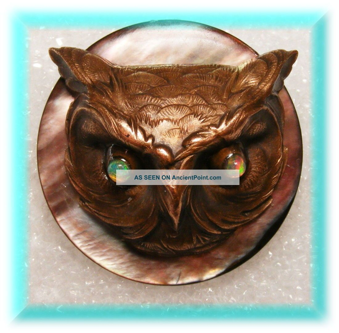 3d Nouveau French Brass Casting Of Lg Owl Head W Opal Glass Eyes On Mop Button Buttons photo