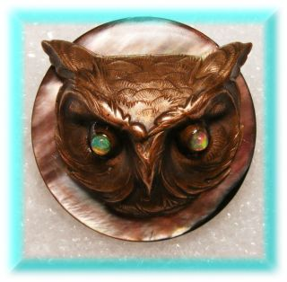 3d Nouveau French Brass Casting Of Lg Owl Head W Opal Glass Eyes On Mop Button photo