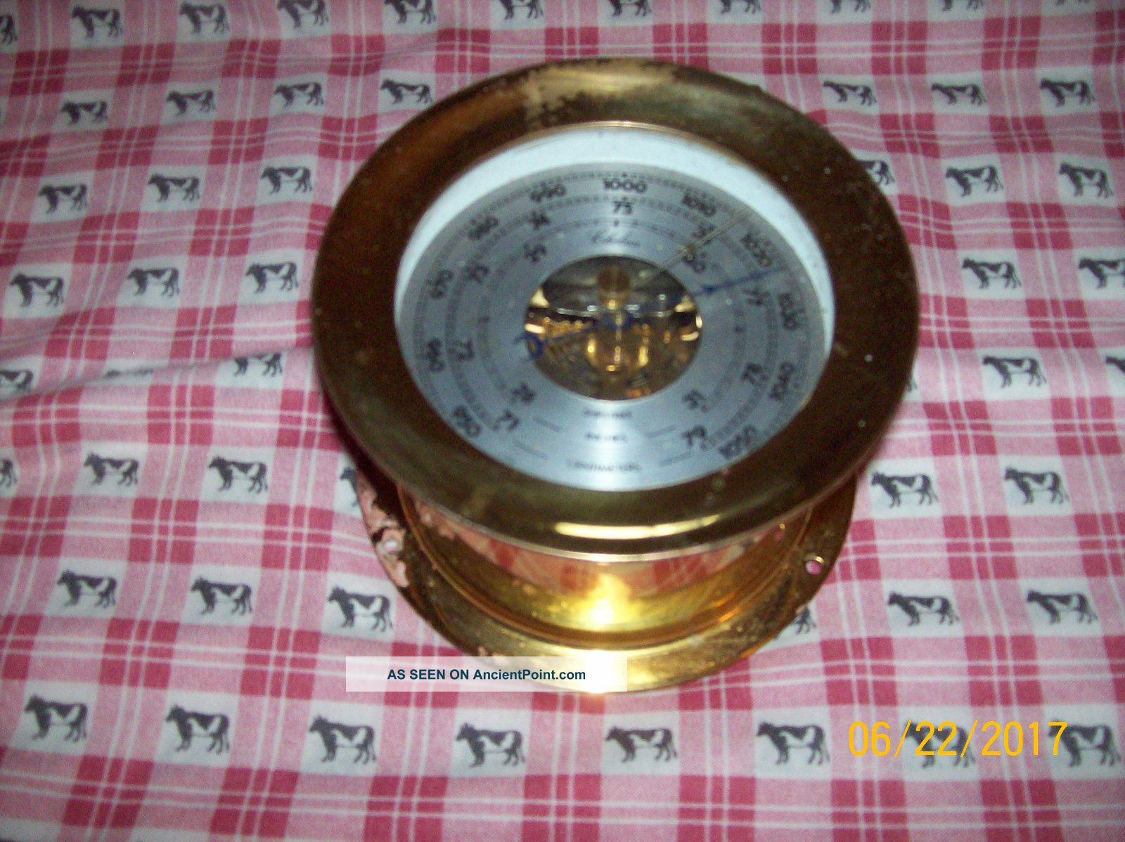 Vintage Chelsea Brass Shipstrike Barometer 4.  5 Inch Clocks photo