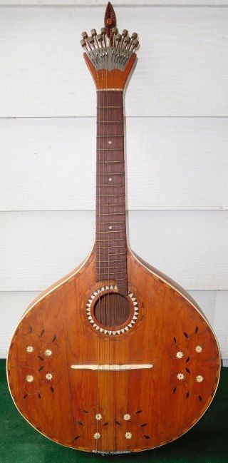 1800 ' S Antique 12 String Portuguese Mandolin Guitar Peachow Watch Tuners photo