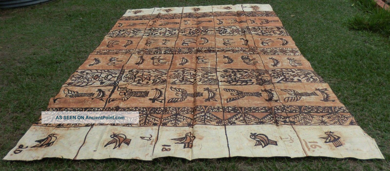 Very Large Old Traditional Ngatu Tapa Bark Cloth Tonga Age Patina Pacific Islands & Oceania photo
