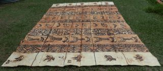 Very Large Old Traditional Ngatu Tapa Bark Cloth Tonga Age Patina photo