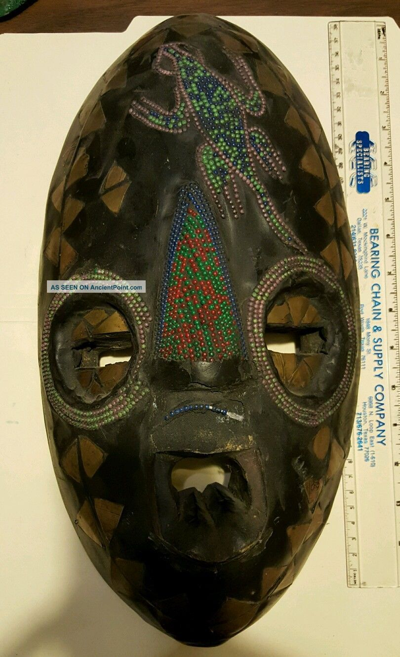 Vintage African Ghana Mask Hand Carved Wood & Metal Tribal Home Decor Wall Art Masks photo