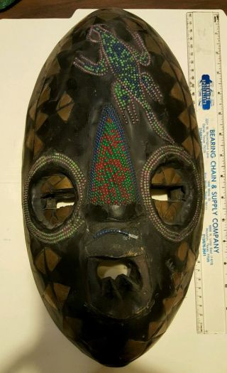 Vintage African Ghana Mask Hand Carved Wood & Metal Tribal Home Decor Wall Art photo