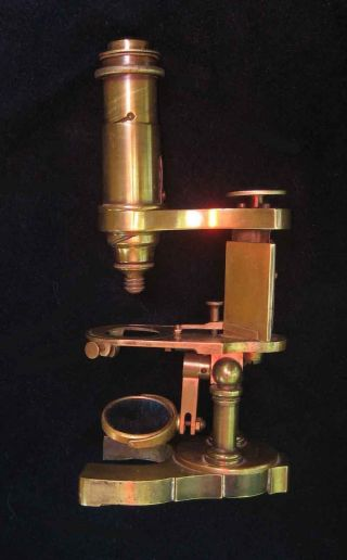 C1880 Antique George Wale Signed Brass Microscope W/ Rare Spiral Course Focus photo