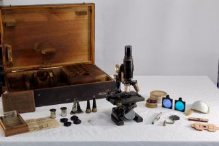 Antique Spencer Buffalo Usa Microscope With Accessories Case photo