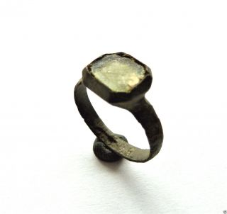 Medieval Bronze Ring With Glass Insert.  (211) photo