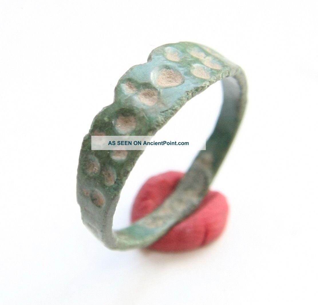 Ancient Old Viking Bronze Decorated Ring  Thimble Dots  (jun02) Viking photo