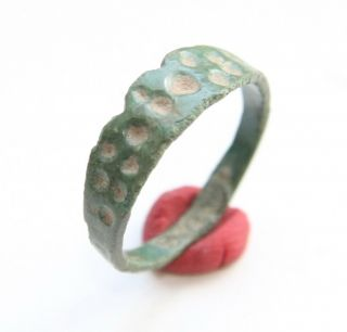Ancient Old Viking Bronze Decorated Ring  Thimble Dots  (jun02) photo
