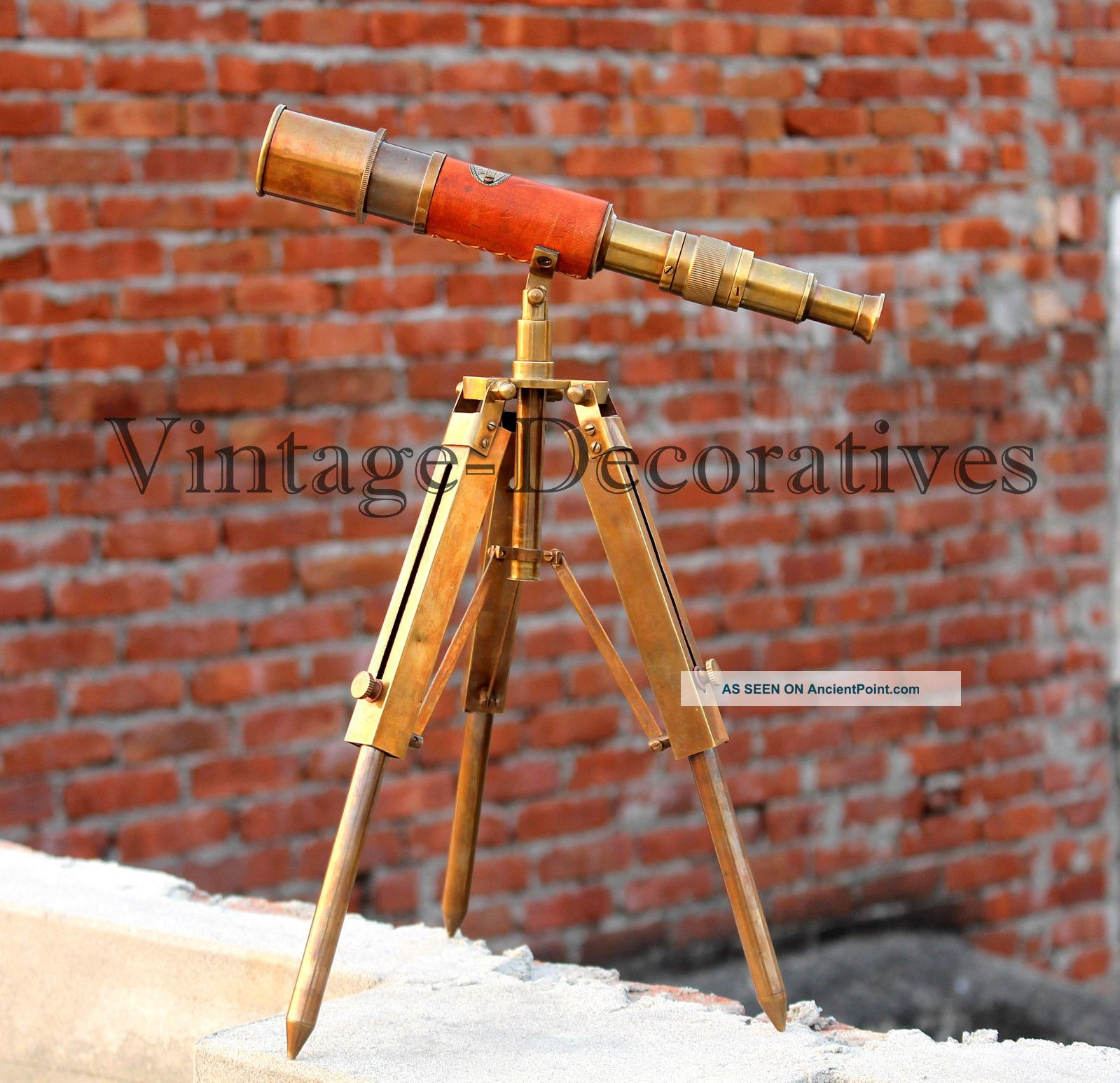 Vintage Nautical Telescope With Brass Tripod Stand Marine Navy Spyglass Decor Telescopes photo
