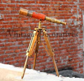 Vintage Nautical Telescope With Brass Tripod Stand Marine Navy Spyglass Decor photo