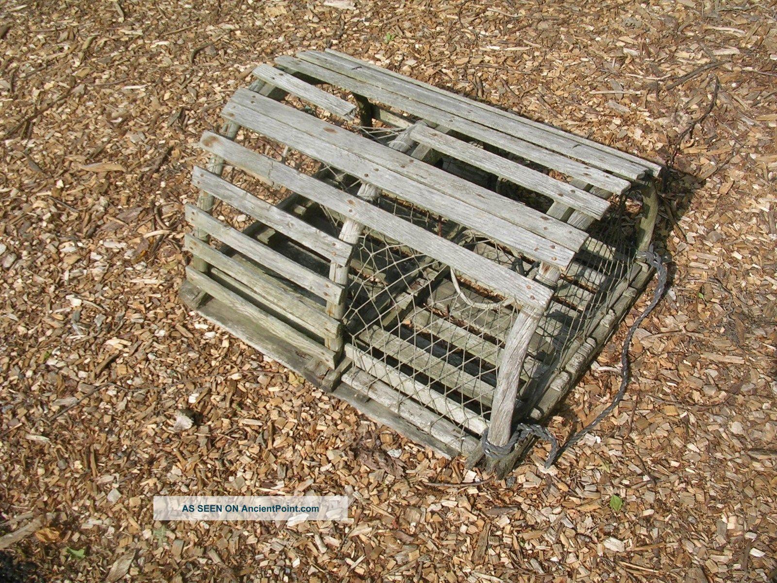 We Ship Maine Round Wood Lobster Trap Crab Pot Wooden Tiki Shrimp Lake Beach Fishing Nets & Floats photo