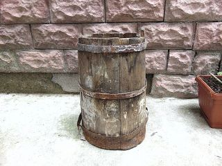 Antique Early Primitive Wooden Canteen Barrel Vat Farm Old Farm Equipment photo