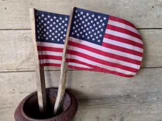 Pair Primitive Americana Patriotic Flag On Tobacco Stick Rustic 4th Of July photo