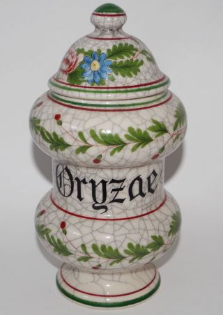 Vintage Apothecary Pharmacy Drugstore Jar Ceramic Herb Drug Majolica Albarello photo