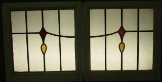 Old English Leaded Stained Glass Window Abstract Geometric Pair 20.  5