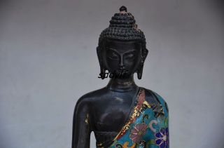 Delicate Chinese Cloisonne Handwork Carved Pharmacist Buddha Statues photo