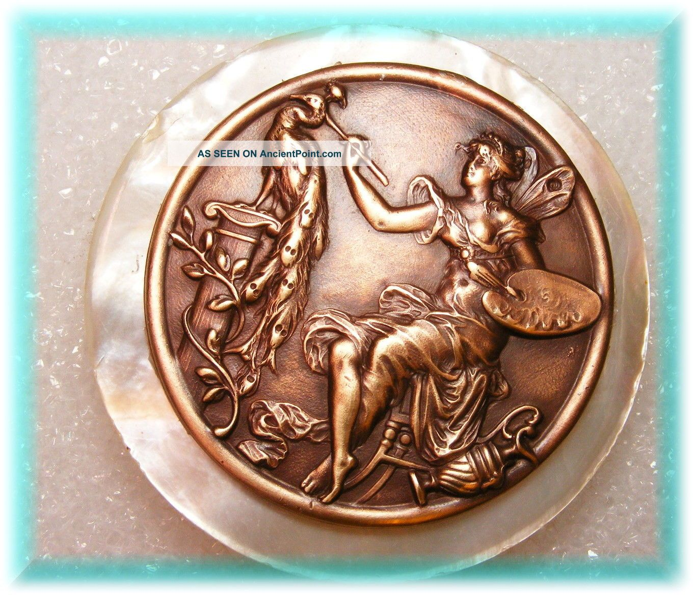 Stunning Large Mop Button W Solid Brass Casting Of Unique Fairy Artist W Peacock Buttons photo
