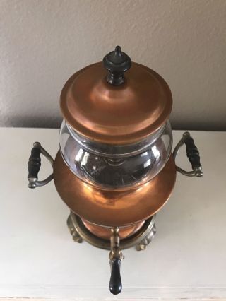 Antique Samovar Coffee Percolator Manning Bowman & Co.  Copper And Glass 1906/ 11 photo