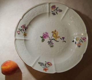 Antique Meissen Charger Large Plate Hand Painted Flowers 19th Century Bowl photo