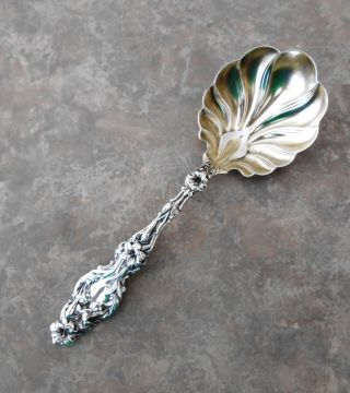 Lily Pattern Sterling By Whiting Jelly Serving Spoon With Gold Wash Bowl photo
