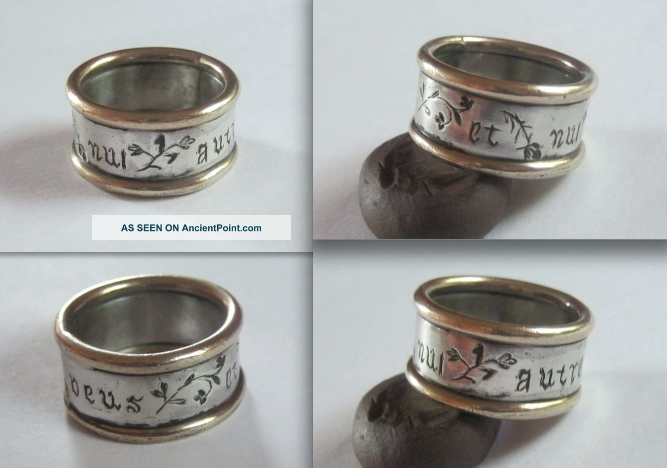 Renaissance Silver And Gold Poesy/betrothal Band Ring Inscr.