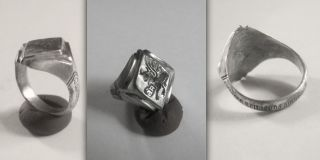 Renaissance/georgian Christian Silver Ring With Saint Lucas,  Inscribed Hoop photo