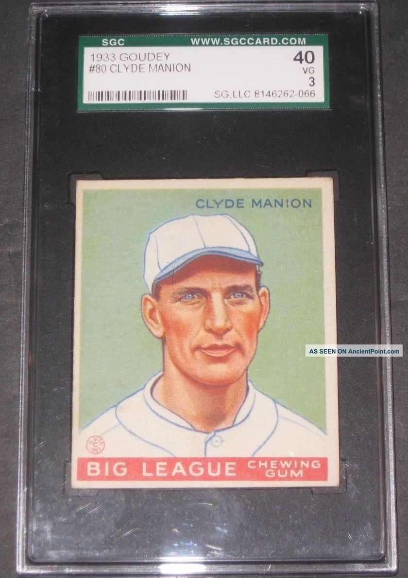 1933 Goudey Clyde Manion Baseball Card Sgc 40 Vg 3 Cincinnati Reds Antique Other Antiquities photo