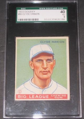 1933 Goudey Clyde Manion Baseball Card Sgc 40 Vg 3 Cincinnati Reds Antique photo