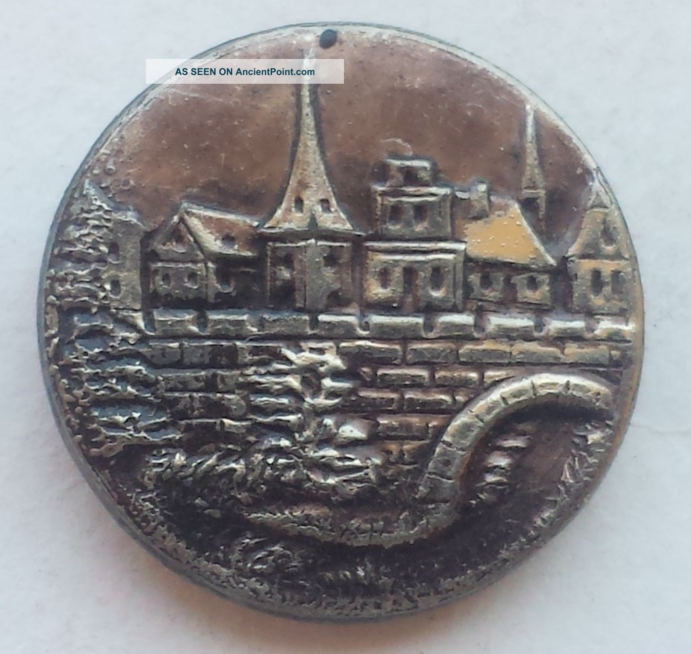 23/32 Inch View Of Hamelin Town Antique Vintage White Brass Picture Button Buttons photo