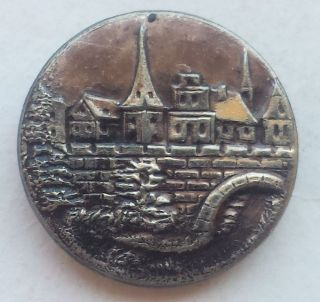 23/32 Inch View Of Hamelin Town Antique Vintage White Brass Picture Button photo