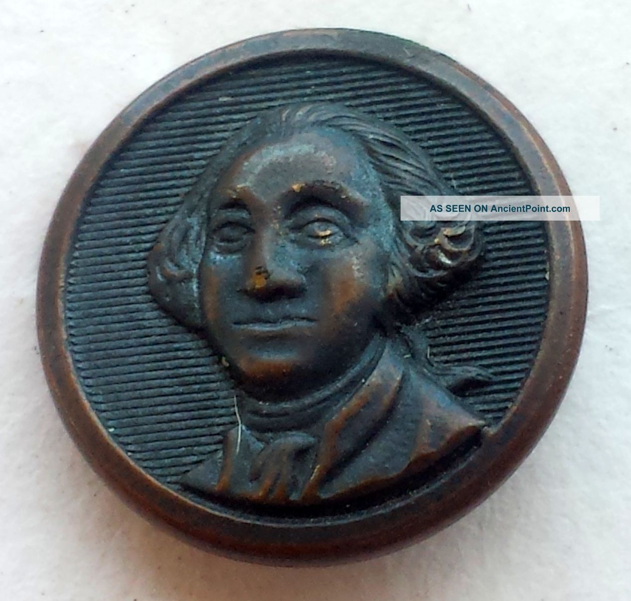 5/8inch George Washington Superior Quality Brass Antique Vintage Picture Button Buttons photo