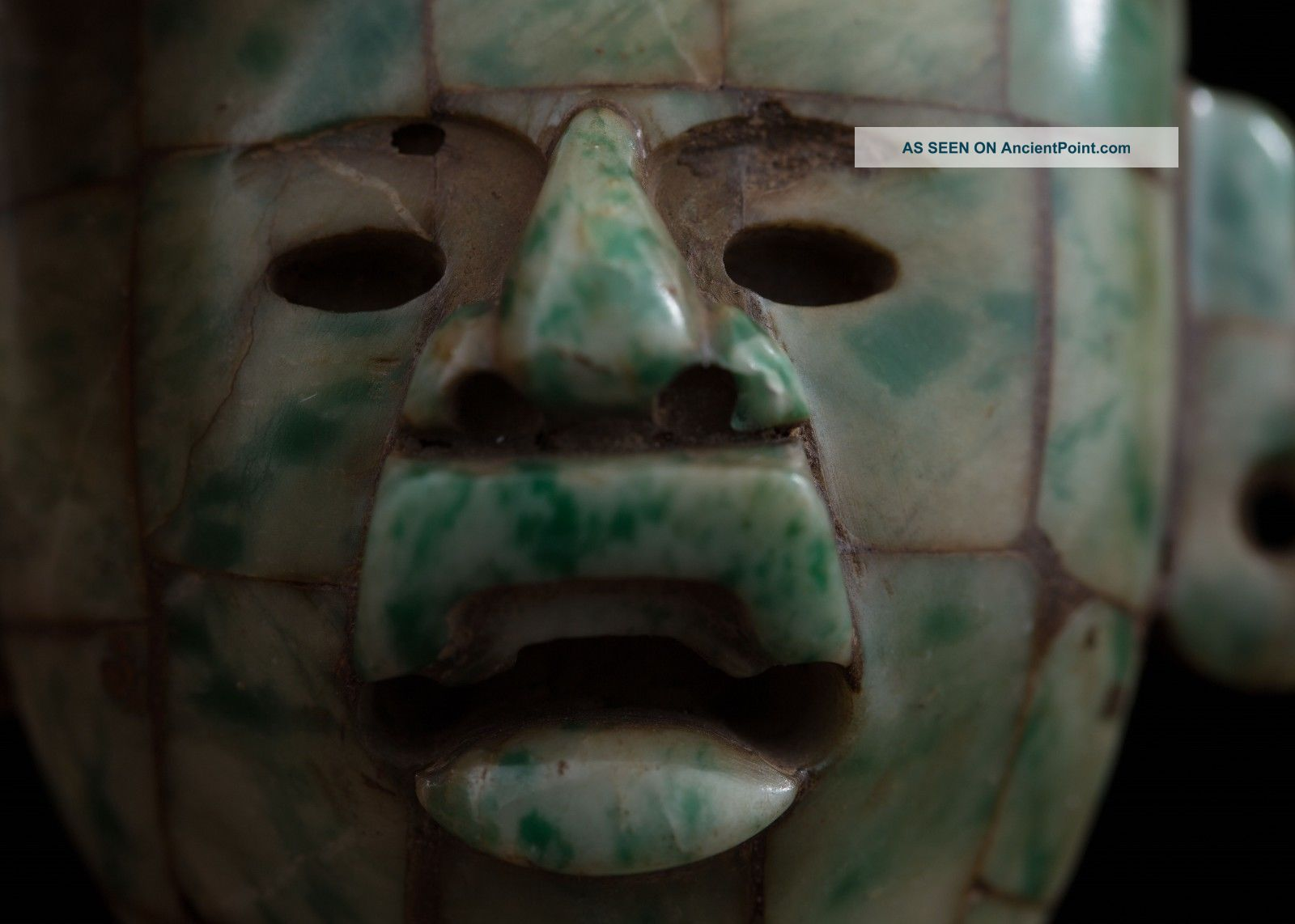 Pre Columbian Style Mayan Mosaic Stone Maskette - Antique Statue - Olmec Mayan The Americas photo