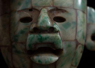 Pre Columbian Style Mayan Mosaic Stone Maskette - Antique Statue - Olmec Mayan photo