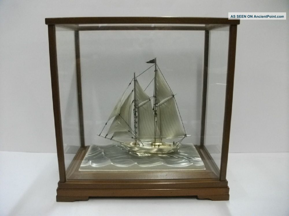 The Sailboat Of Silver980 Of Japan.  2masts.  122g/ 4.  29oz.  Takehiko ' S Work. Other Antique Sterling Silver photo