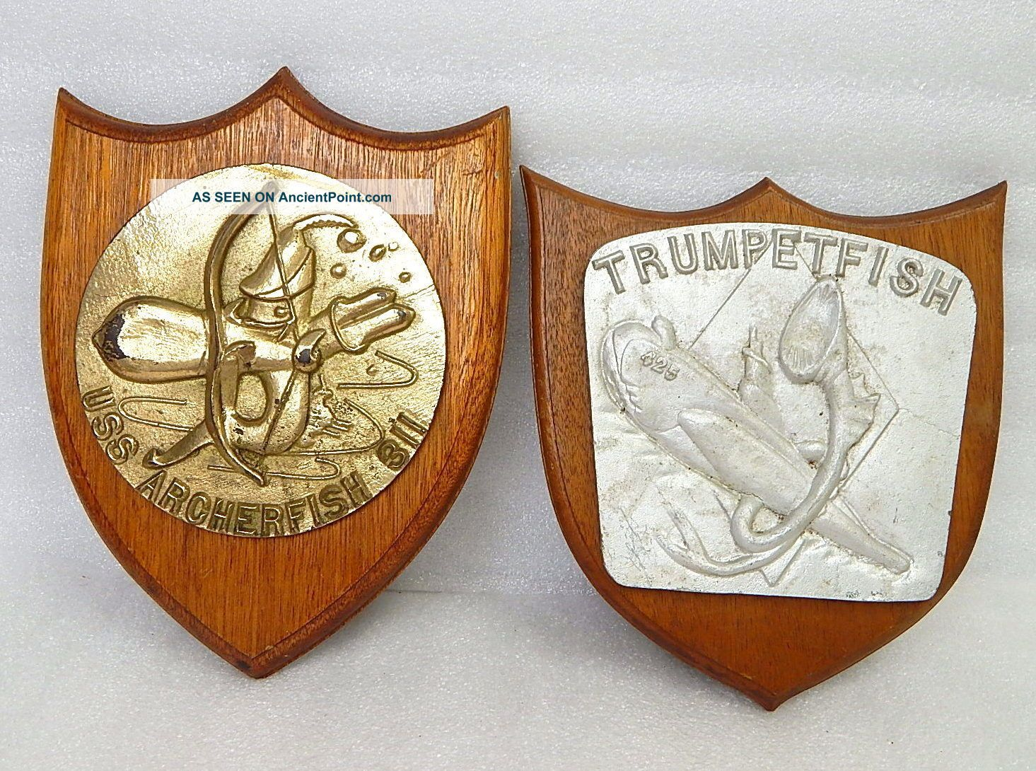 Pair Wwii Usn Naval Submarine Uss Archerfish Trumpetfish Ship Plaque Badge Medal Plaques & Signs photo