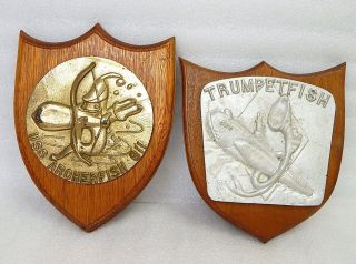 Pair Wwii Usn Naval Submarine Uss Archerfish Trumpetfish Ship Plaque Badge Medal photo