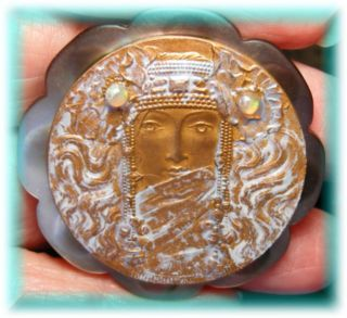 Wow Carved Smokey Mop Button W French Art Nouveau Princess In White Lace & Opals photo