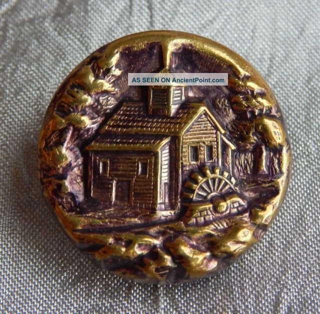Vintage Antique Brass Picture Button Mill Scene Water Wheel 014 - C Buttons photo