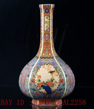Chinese Cloisonne Hand - Painted Bird&flower Vase W Yongzheng Mark Cqfl13 photo