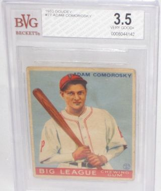 1933 Goudey Adam Comorosky Baseball Card Bvg 3.  5 Very Good,  Psa 4? Pittsburgh photo