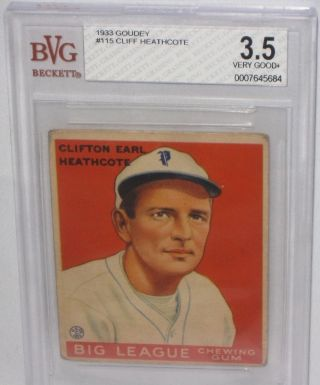 1933 Goudey Cliff Heathcote Baseball Card Bvg 3.  5 Very Good,  Philadelphia Psa 4? photo