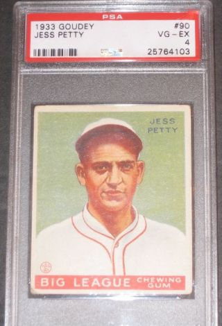 1933 Goudey Jess Petty Baseball Card Psa 4 Vg - Ex 90 Sports Trading Cards photo