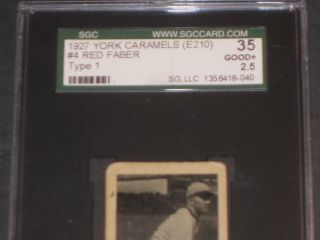 1927 E210 Red Faber York Caramel Baseball Card Sgc 35 Good,  2.  5 Antique Trading photo