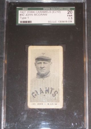 1927 E210 John Mcgraw York Caramel Baseball Card Sgc 20 Fair 1.  5 York Giants photo