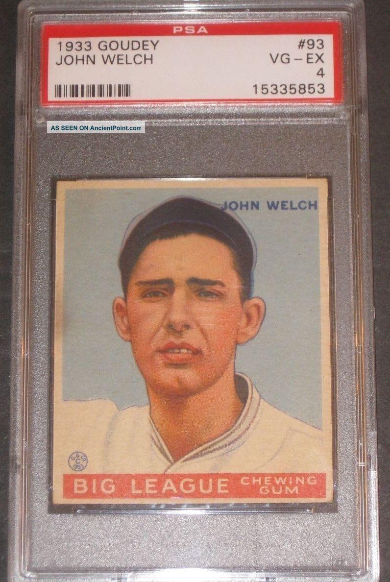 1933 Goudey John Welch Baseball Card Psa 4 Vg - Ex 93 Boston Red Sox See more 1933 Goudey John Welch Boston Red Sox #93 Base... photo