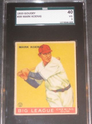 1933 Goudey Mark Koenig Baseball Card Sgc 40 Vg 3 Chicago Cubs 39 Antique photo