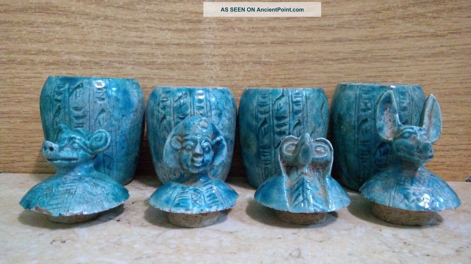 4 Ancient Egyptian Canopic Jars (1353 - 1336 Bc) Egyptian photo